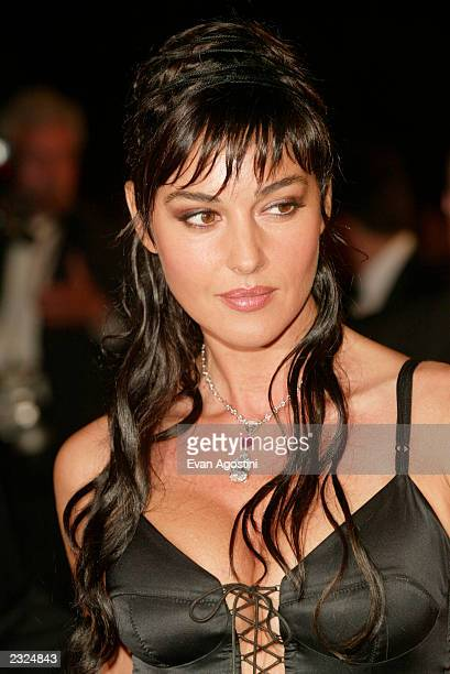 """Actress Monica Bellucci arriving at the """"Irreversible"""" screening during the 55th Cannes Film Festival in Cannes, France. May 24, 2002. Photo: Evan..."""