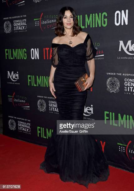 Actress Monica Bellucci attends Filming on Italy and Italian Institute of Culture Los Angeles Creativity Awards at Harmony Gold on January 31 2018 in...