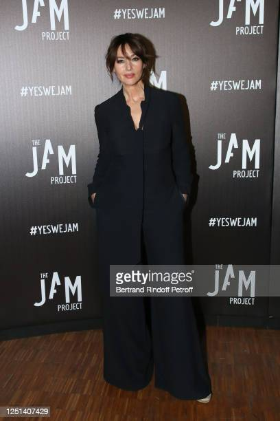 Actress Monica Bellucci attends the Jam Capsule An Immersive cultural experience Exhibition opening night at Grande Halle de La Villette on June 22...