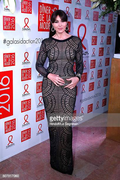 Actress Monica Bellucci attends the Sidaction Gala Dinner 2016 as part of Paris Fashion Week Held at Pavillon d'Armenonville on January 28 2016 in...
