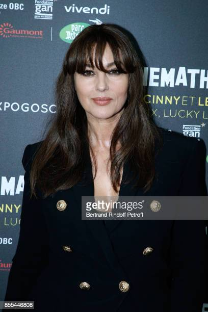 Actress Monica Bellucci dressed in Balamin attends the 'Goscinny et le Cinema Asterix Lucky Luke Cie' Photocall at la cinematheque on September 29...