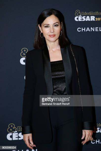 Actress Monica Bellucci dressed in Chanel attends the 'Cesar Revelations 2018' Party at Le Petit Palais on January 15 2018 in Paris France