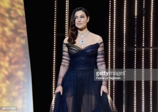 Actress Monica Bellucci during the Opening Ceremony of the 70th annual Cannes Film Festival at Palais des Festivals on May 17 2017 in Cannes France