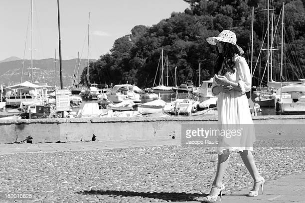 Actress Monica Bellucci on the set of 'Perlage' TV comercial on September 14 2012 in Portofino Italy