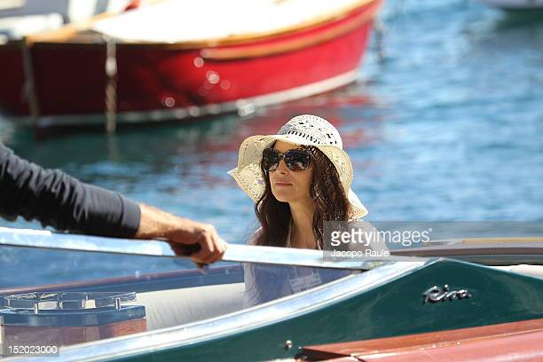 Actress Monica Bellucci on the set of 'Perlage' TV commercial on September 14 2012 in Portofino Italy