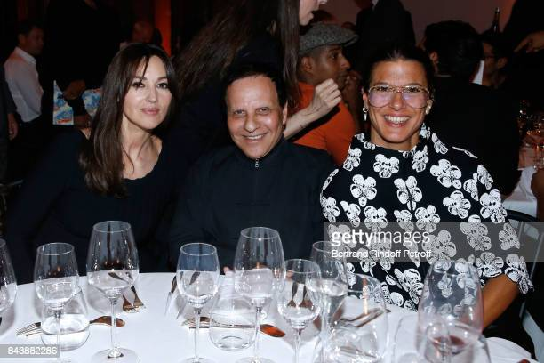Actress Monica Bellucci stylist Azzedine Alaia and Camille Miceli attend the 'Richard Wentworth a la Maison Alaia' Exhibition Opening at Azzedine...