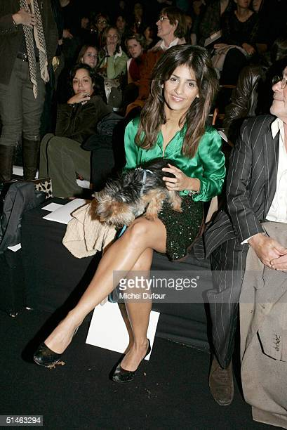 Actress Monica Cruz at the Chloe fashion show as part of Paris Fashion Week Spring/Summer 2005 on October 9 2004 in Paris France