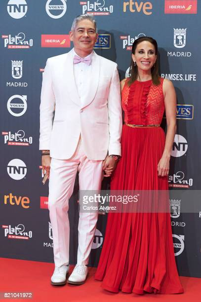 Actress Monica Huarte and Biris Izaguirre attend the Platino Awards 2017 photocall at the La Caja Magica on July 22 2017 in Madrid Spain