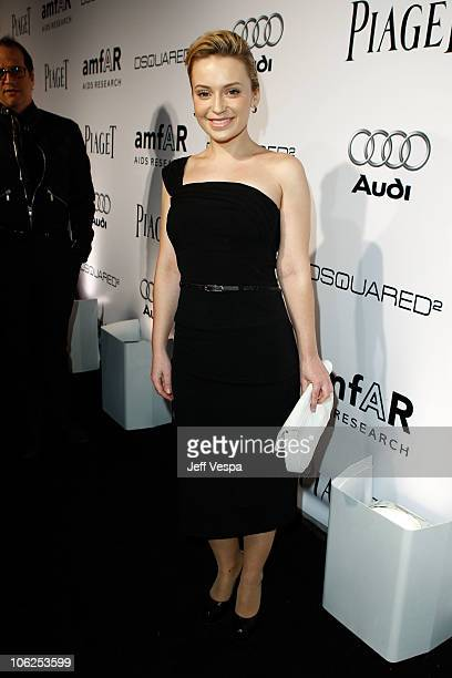 Actress Monica Keena arrives at the amfAR Inspiration Gala celebrating men's style with Piaget and DSquared 2 at Chateau Marmont on October 27 2010...