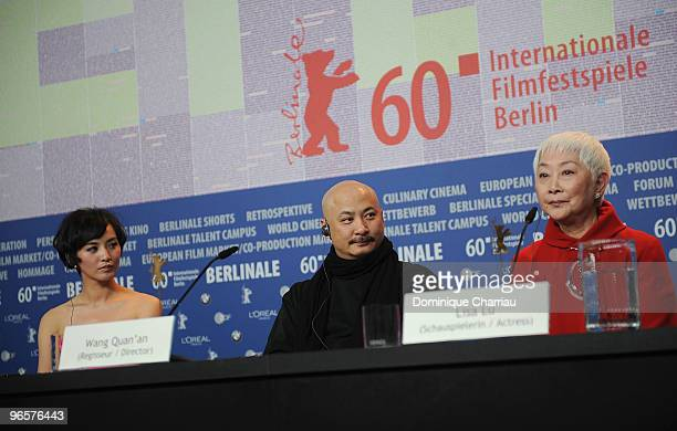 Actress Monica Mo, director Wang Quan�an and actress Lisa Lu attend the 'Tuan Yuan' Press Conference during day one of the 60th Berlin Film Festival...