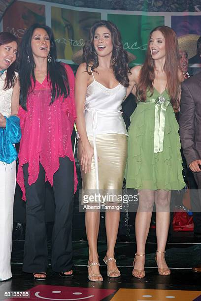 Actress Monica Noguera actress Patricia Manterola and actress Adela Noriega pose at 'Encuentro Emociones' at the Mandarin Oriental Hotel on June 22...