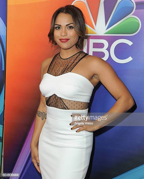 Actress Monica Raymund arrives at the 2016 Winter TCA Tour NBCUniversal Press Tour at Langham Hotel on January 13 2016 in Pasadena California