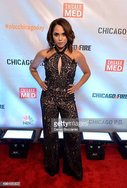 Actress Monica Raymund attends a premiere party for NBC's 'Chicago Fire' 'Chicago PD' and 'Chicago Med' at STK Chicago on November 9 2015 in Chicago...