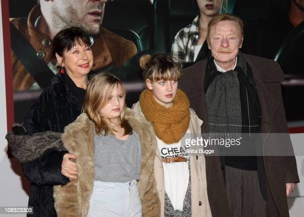Actress Monika Hansen granddaughter Lillith granddaughter Lulu and actor Otto Sander arrive for the ''Kokowaeaeh' Germany Premiere at the CineStar...