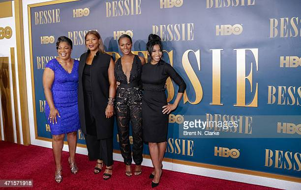 Actress Mo'Nique actress/executive producer Queen Latifah actresses Tika Sumpter and Khandi Alexander arrive for the New York screening of Bessie...