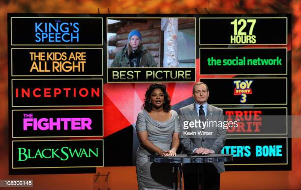 Actress Mo'Nique and President of the Academy of Motion Picture Arts and Science Tom Sherak annouce the nominees for Best Picture onstage at the 83rd...