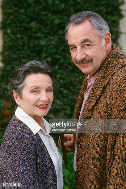 Actress Monique Chaumette with her husband French actor Philippe Noiret on the set of Claude Chabrol's movie Masques