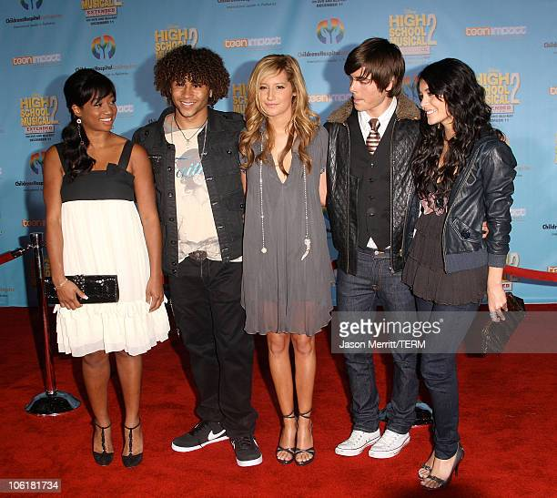 Actress Monique Coleman actor Corbin Bleu actress Ashley Tisdale actor Zac Efron and actress Vanessa Hudgens pose at the DVD release of Disney...