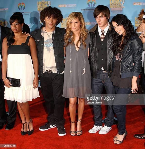 Actress Monique Coleman actor Corbin Bleu actress Ashley Tisdale actor Zac Efron and actress Vanessa Hudgens pose at the DVD release of Disney...