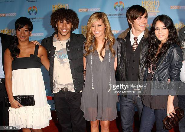 Actress Monique Coleman, actor Corbin Bleu, actress Ashley Tisdale, actor Zac Efron and actress Vanessa Hudgens pose at the DVD release of Disney...