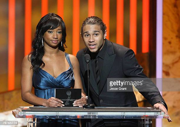 Actress Monique Coleman and Corbin Bleu speak onstage during the 39th NAACP Image Awards held at the Shrine Auditorium on February 14 2008 in Los...