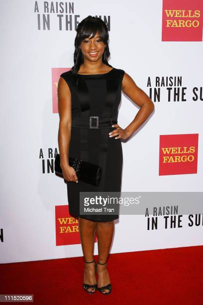 Actress Monique Coleman arrives at the Los Angeles premiere of 'A Raisin in the Sun' held at AMC Magic Johnson Theaters on February 11 2008 in Los...