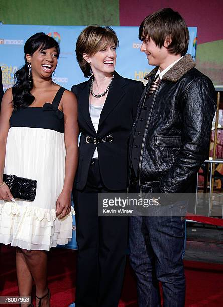 Actress Monique Coleman President and cochairman of Disney/ABC Television Anne Sweeney and actor Zac Efron arrive at the DVD premiere of Disney's...
