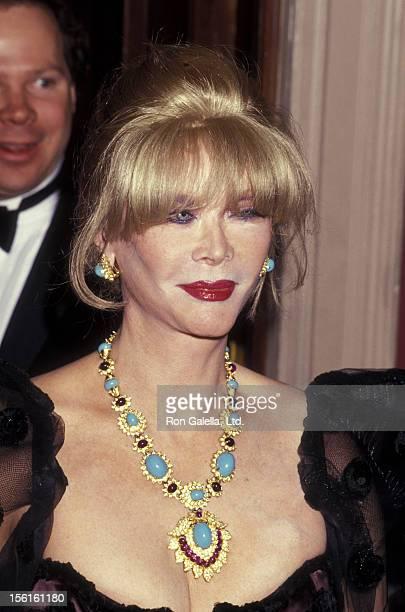 Actress Monique van Vooren attends Museum of the Moving Image Gal Honoring Barbara Walters on March 19 1992 at the American Museum of the Moving...