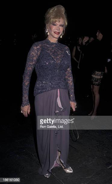 Actress Monique van Vooren attends the opening of 'The Warhol Look Glamour Style Fashion' Exhibit on November 6 1997 at the Whitney Museum in New...
