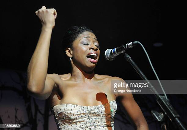 Actress Montego Glover performs at the Broadway Takes the Runway Benefit at Touch Night Club on October 4 2010 in New York City