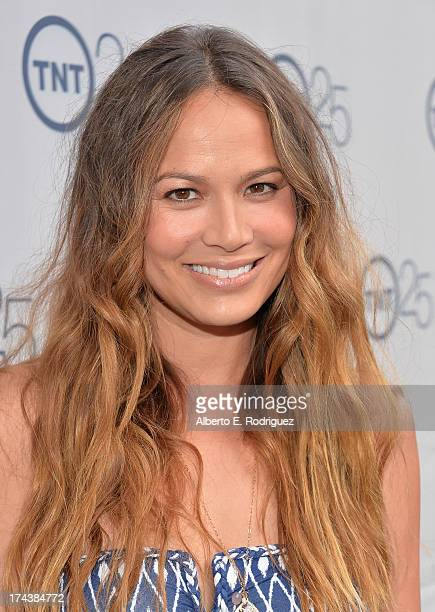 Actress Moon Bloodgood arrives to TNT's 25th Anniversary Party at The Beverly Hilton Hotel on July 24 2013 in Beverly Hills California