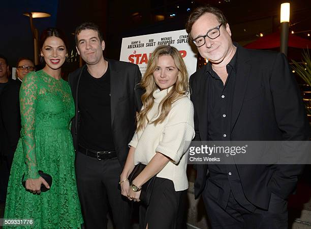 Actress Moran Atias director Mike Young actress Annie Heise and actor Bob Saget attend the premiere for The Orchard's 'A Stand Up Guy' on February 9...