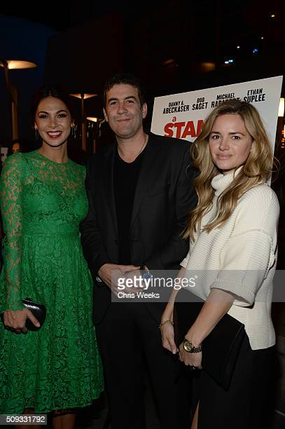 Actress Moran Atias director Mike Young and actress Annie Heise attend the premiere for The Orchard's 'A Stand Up Guy' on February 9 2016 in Los...