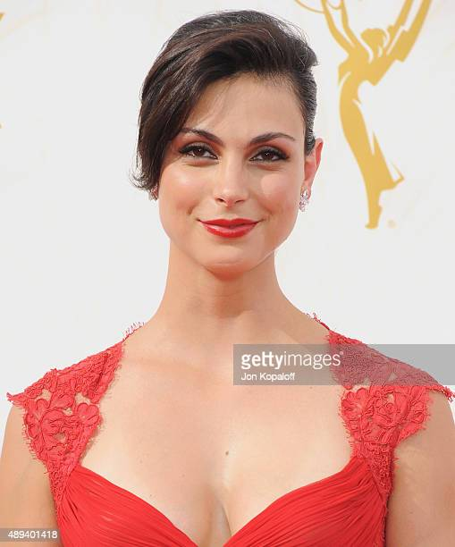 Actress Morena Baccarin arrives at the 67th Annual Primetime Emmy Awards at Microsoft Theater on September 20, 2015 in Los Angeles, California.