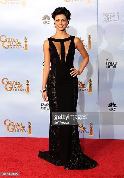 Actress Morena Baccarin poses in the press room at the 69th Annual Golden Globe Awards held at the Beverly Hilton Hotel on January 15, 2012 in...