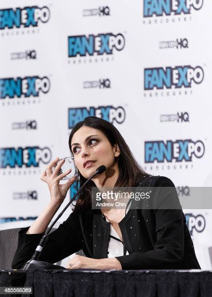 Actress Morena Baccarin speaks at the Celebrity QA during the Fan Expo Vancouver 2014 at The Vancouver Convention Centre on April 18 2014 in...