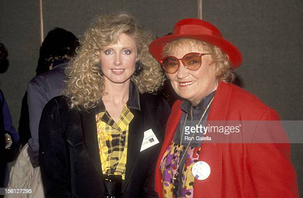 Actress Morgan Fairchild and Politician Bella Abzug attend the ProChoice Rally for Abortion Rights on April 9 1989 at Capitol Hill in Washington DC