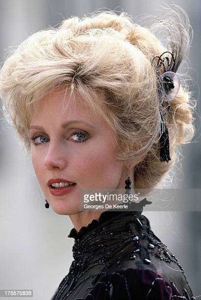 Actress Morgan Fairchild poses on a shoot for the TV movie 'Sherlock Holmes and the Leading Lady' in which she interprets Irene Adler on 1991 ca in...