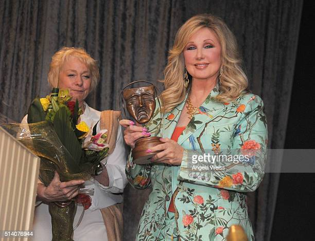 Actress Morgan Fairchild recieves the Ralph Morgan Award at the SAGAFTRA Los Angeles Local's Membership luncheon meeting at Sportsmen's Lodge Event...