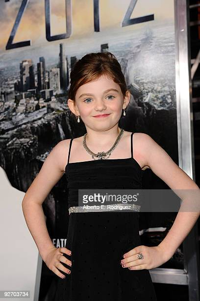 Actress Morgan Lily arrives at the premiere of Columbia Pictures' 2012 at the Regal Cinemas LA live on November 3 2009 in Los Angeles California
