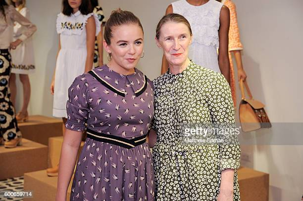 Actress Morgan Saylor and designer Orla Kiely attend the Orla Kiely presentation during New York Fashion Week September 2016 on September 8 2016 in...