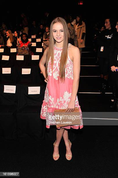 Actress Morgan Saylor attends the Naeem Khan Fall 2013 fashion show during MercedesBenz Fashion Week at The Theatre at Lincoln Center on February 12...