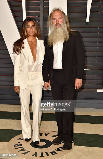 Actress Mourielle Herrera and music producer Rick Rubin attend the 2015 Vanity Fair Oscar Party hosted by Graydon Carter at Wallis Annenberg Center...