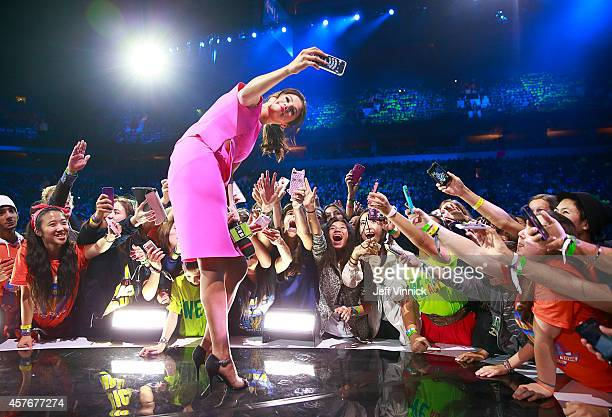 Actress multiplatinum recording artist and UNICEF Goodwill Ambassador Selena Gomez inspires 20000 students at We Day at Rogers Arena on Wednesday...