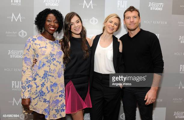 Actress Muna Otaru actress Hailee Steinfeld actress Brit Marling and actor Sam Worthington attend the Variety Studio presented by Moroccanoil at Holt...