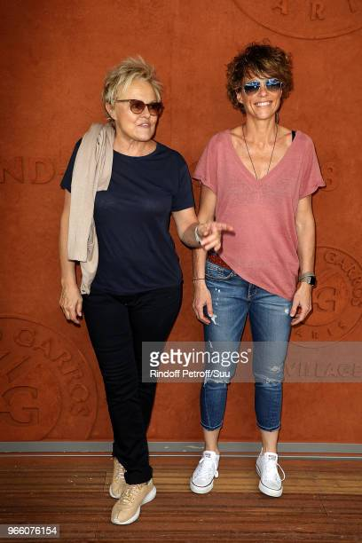 Actress Muriel Robin and Anne Le Nen attend the 2018 French Open Day Seven at Roland Garros on June 2 2018 in Paris France