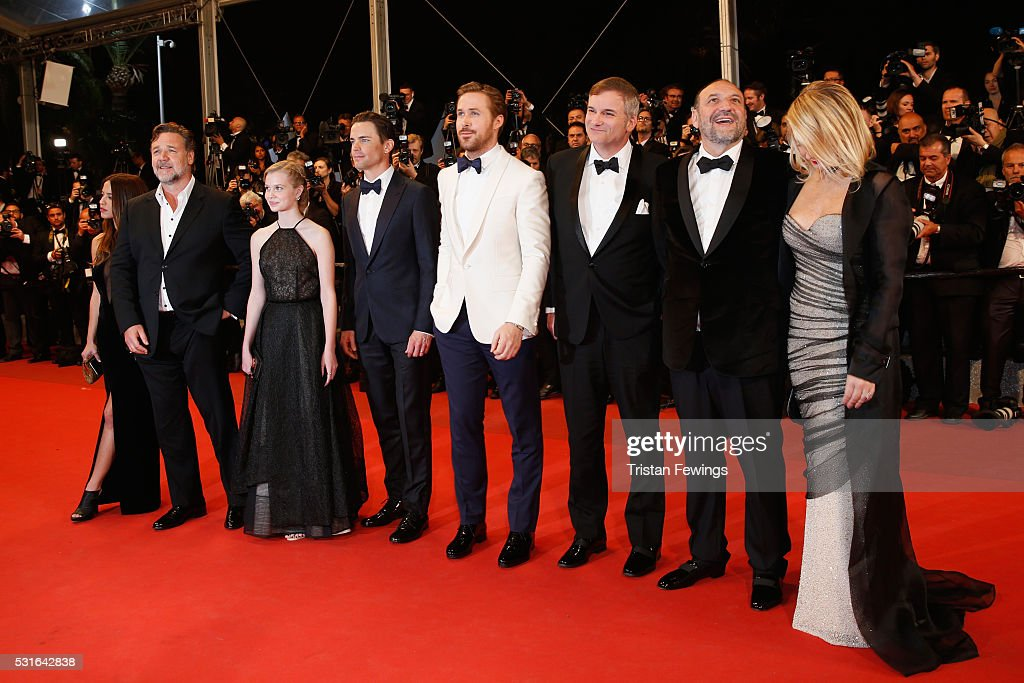 Actress Murielle Telio, Actor Russell Crowe, actress Angourie Rice, actor Matt Bomer, actor Ryan Gosling, director Shane Black, Producer Joel Silver and his wife attend 'The Nice Guys' premiere during the 69th annual Cannes Film Festival at the Palais des Festivals on May 15, 2016 in Cannes, France.