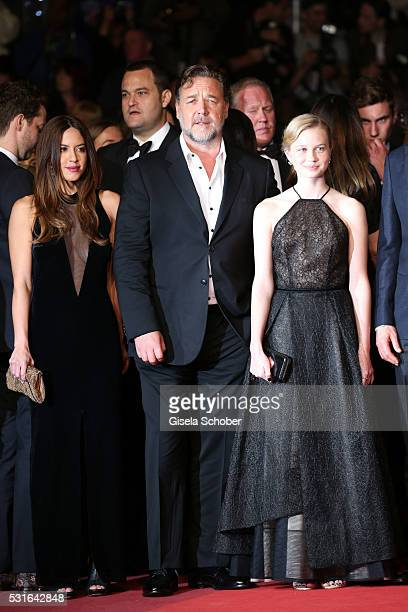 Actress Murielle Telio actor Russell Crowe and actress Angourie Rice attend 'The Nice Guys' premiere during the 69th annual Cannes Film Festival at...