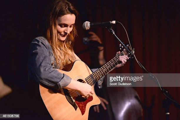 Actress / musician Leighton Meester performs onstage at The Hotel Cafe on January 13 2015 in Hollywood California