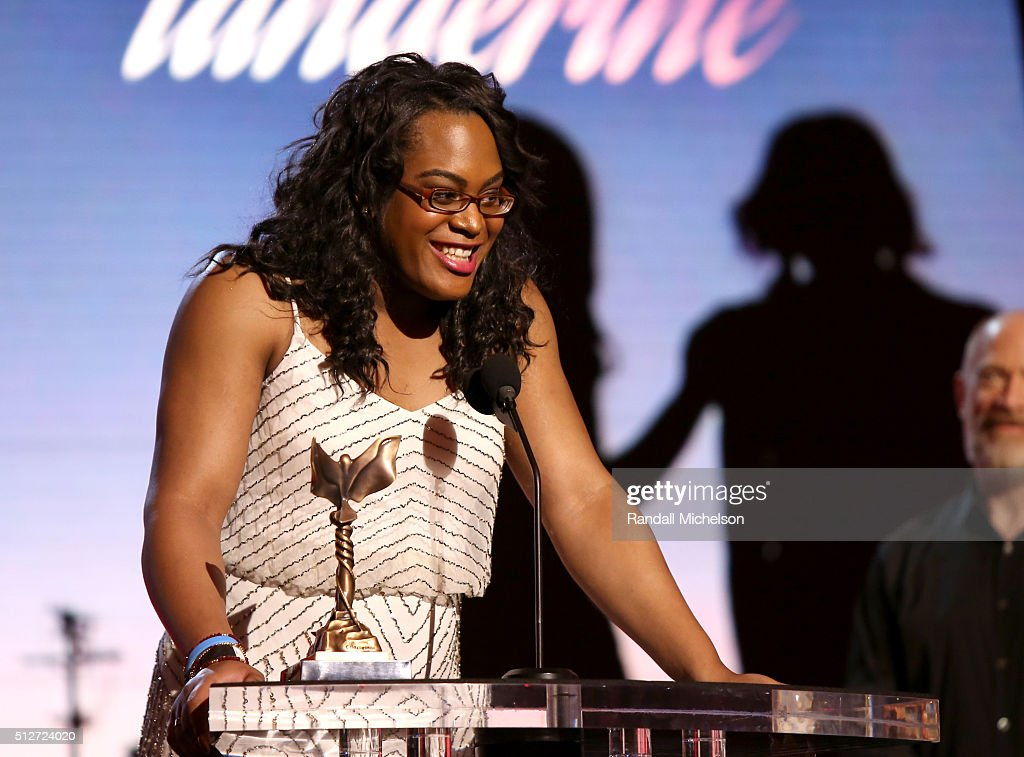 Actress Mya Taylor accepts the Best Supporting Female Award for 'Tangerine,' during the 2016 Film Independent Spirit Awards on February 27, 2016 in Santa Monica, California.